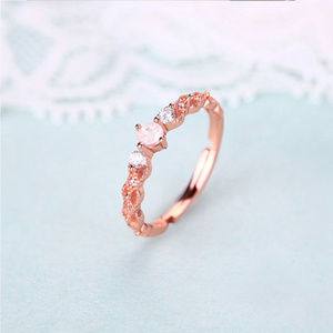 3mm Round Topaz/Ruby/Pink Crystal Silver Band